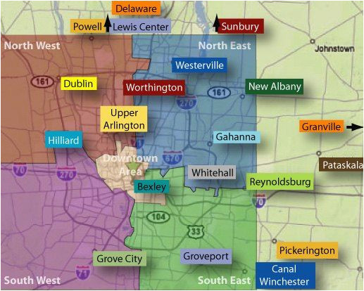 map of columbus ohio and surrounding areas